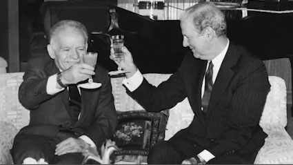 James Baker with Prime Minister Yitzhak Shamir raising glasses