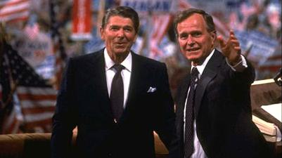 President Ronald Reagan and George H. W. Bush